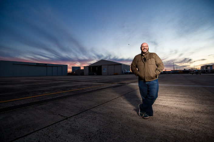 Steve standing on the tarmac at Essendon Airport Melbourne commercial photographer
